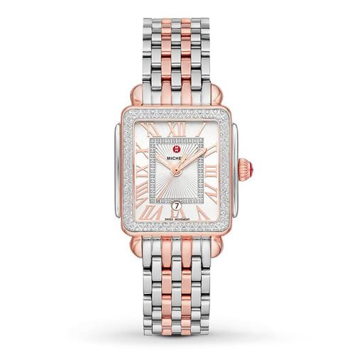 Michele  Deco Madison Mid Two-Tone Pink Gold Diamond Watch  MWW06G000015