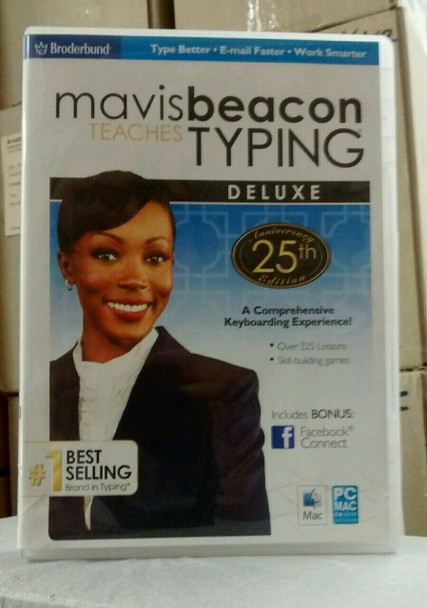 Mavis Beacon Teaches Typing Deluxe PC (#1 Selling) 325 Lessons + Bonus Facebook Connect Software