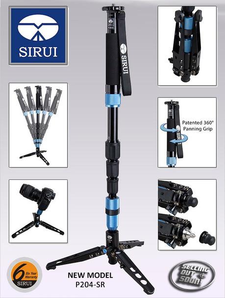 Sirui P-204SR Professional Monopod w/ Tripod Feet + 6 Year Australian warranty (Super-light Aluminium Alloy)