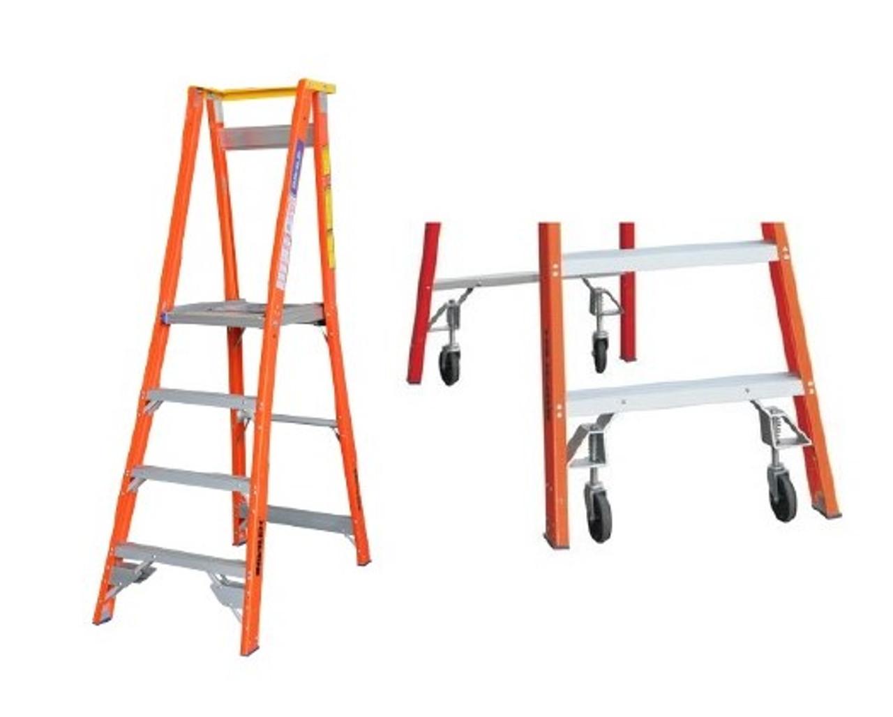 Pro Series Fibreglass Platformpodium Ladder With Spring Loaded Wheel Kit