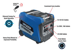 GT Power 4000W Silenced Inverter Generator With Electric Start - Full Power Super Quiet