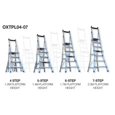Adjustable 4 - 7 Step Trade Series Telescopic Platform Ladders