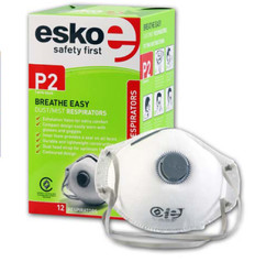 Esko Breathe Easy Disposable Valved Dust / Mist Respirator Masks P2 Rated 12pk