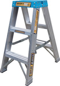 King Aluminium 0.9 M (3ft) Double Sided Step Ladder 160kg Industrial Load Rating