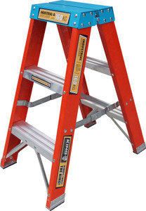 King Fiberglass 0.9M (3FT) Double Sided Step Ladder (160kg) Industrial Load Rating )