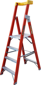 KING FIBERGLASS 1.2M (4FT) PLATFORM LADDER (160KG INDUSTRIAL LOAD RATING)