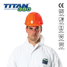 Titan 380  Disposable Coveralls, Rated for Protection Against Chemical, Asbestos and Bio-hazard Contamination