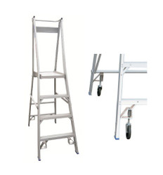 Indalex Pro Series Aluminium Platform/Podium Ladders - Includes Spring Loaded Wheel Kit