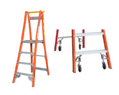 Pro Series Fibreglass Platform/Podium Ladder With Spring Loaded Wheel Kit