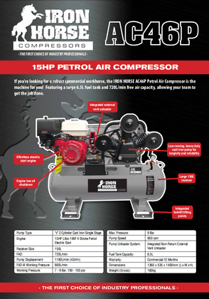 Iron Horse 15HP Lifan Engine Petrol Air Compressor Brochure