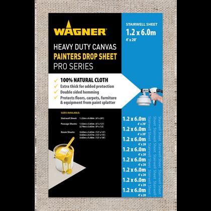 Wagner Heavy Duty Canvas Painters Drop Cloths - 4' x 20' (1.2m x 6m)