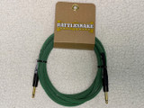 Rattlesnake instrument cable 10ft straight GOLD plugs - Mean Green