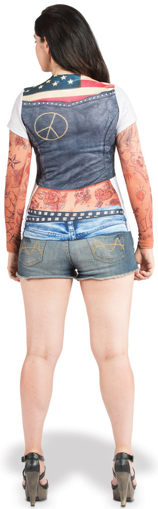 Faux Real Ladies Tattoo with Mesh Sleeves - Model Back View