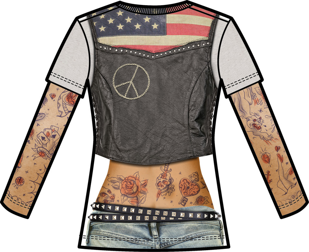 Faux Real Ladies Tattoo with Mesh Sleeves - Back View