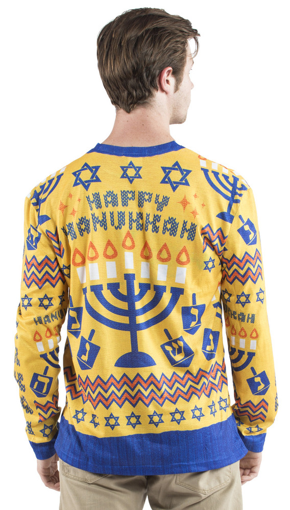 Faux Real Ugly Hanukkah Sweater T-Shirt - Back View
