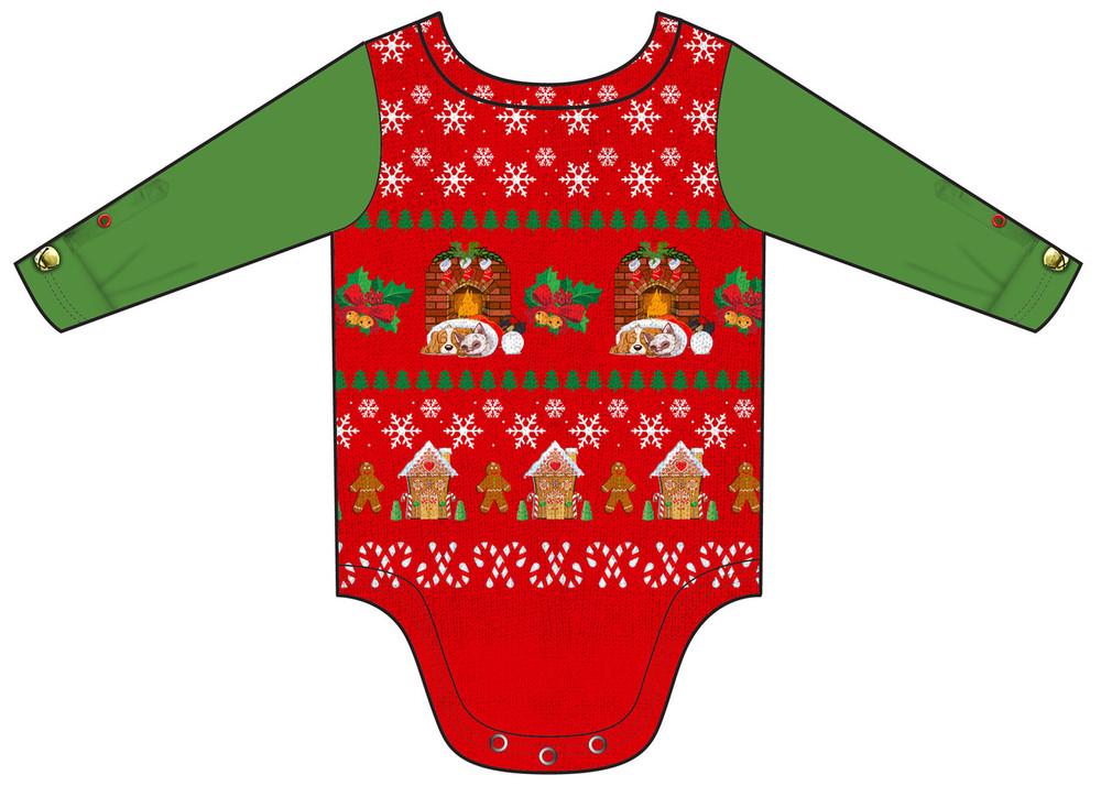Infant Ugly Christmas Vest Romper - Back View