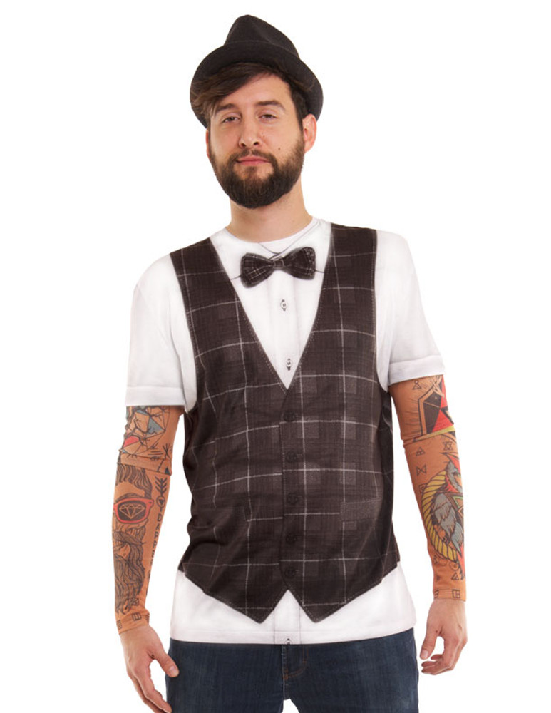 72d6be5e6dfe Hipster Bow Tie Vest w/ Tattoo - Faux Real