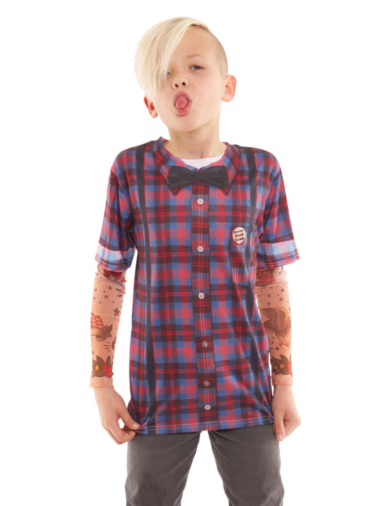Youth Hipster Bow Tie & Suspenders Tattoo Tee W/ Mesh Sleeves