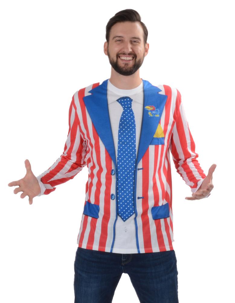 University of Kansas Striped Suit Tee