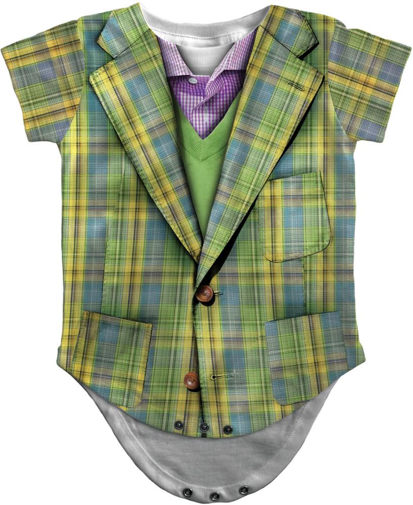 Infant Plaid Suit Romper Front View