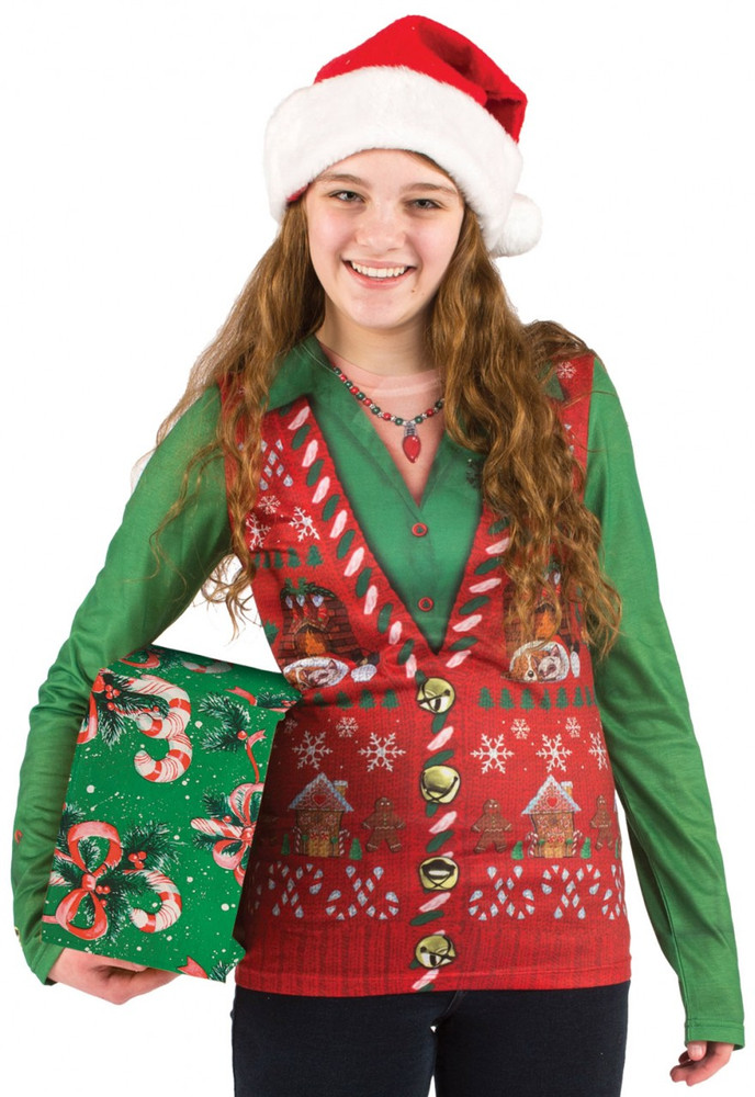 Faux Real Ladies Ugly Christmas Vest - Front