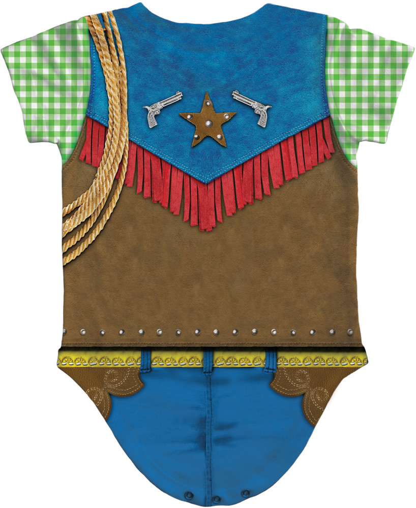 Faux Real Infant Cowboy Romper - Back