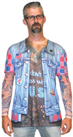 Faux Real Jean Jacket Tattoo with Mesh Sleeves - Model Front View