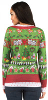 Faux Real Ladies Ugly Christmas Sweater Back View
