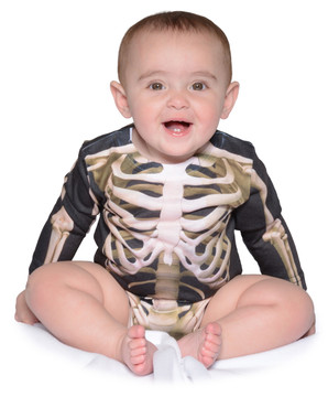 Faux Real Infant Skeleton Long Sleeve Romper