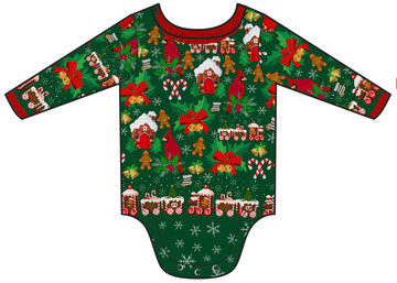 Infant Ugly Christmas Cardigan Romper - Back View