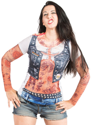Ladies Tattoo with Mesh Sleeves