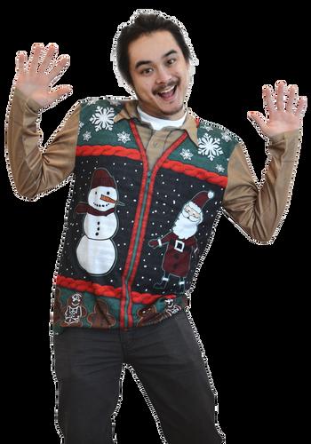 Christmas Zip Sweater Vest