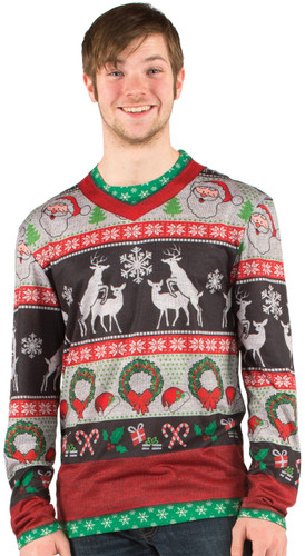 Christmas Frisky Deer Faux Sweater T-Shirt