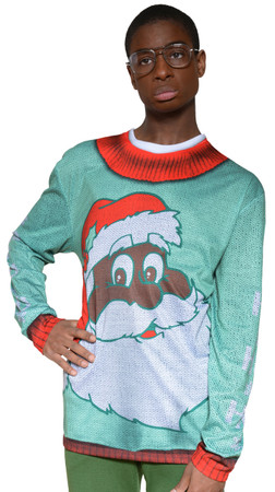 Black Santa Sweater T-Shirt