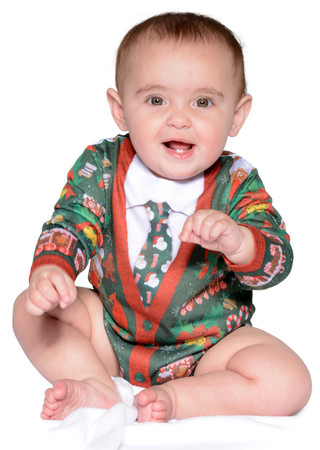 Infant Ugly Christmas Cardigan Romper