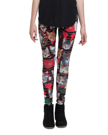 Holiday Christmas Cat Leggings