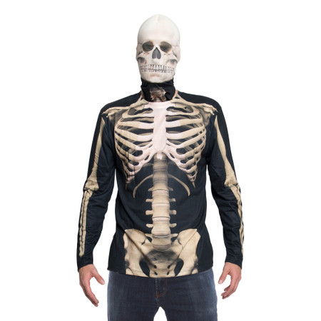 Skeleton Mask/Tee Costume Combo