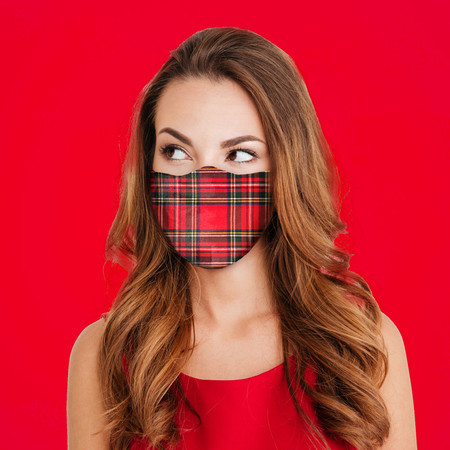 Red Plaid Face Mask