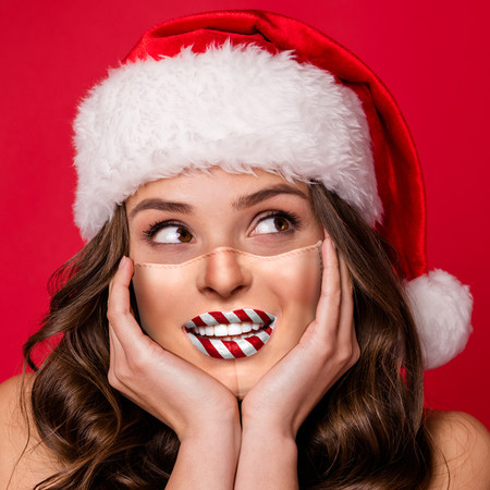 Candy Cane Lips Face Mask