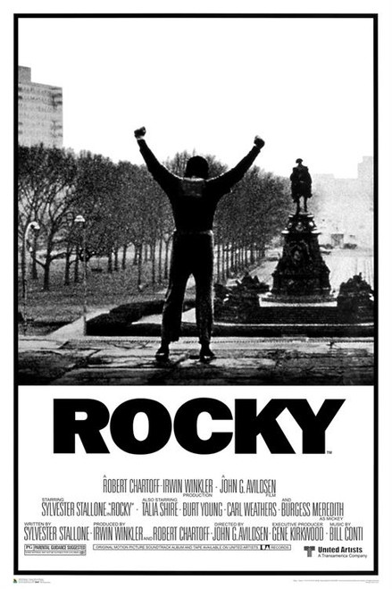 Rocky Movie Poster in black and white.