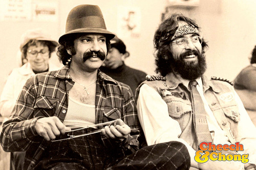 Cheech and Chong photograph in sepia.