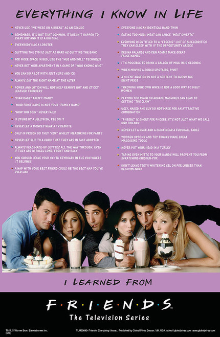 Everything I Know I Learned From Friends Poster.
