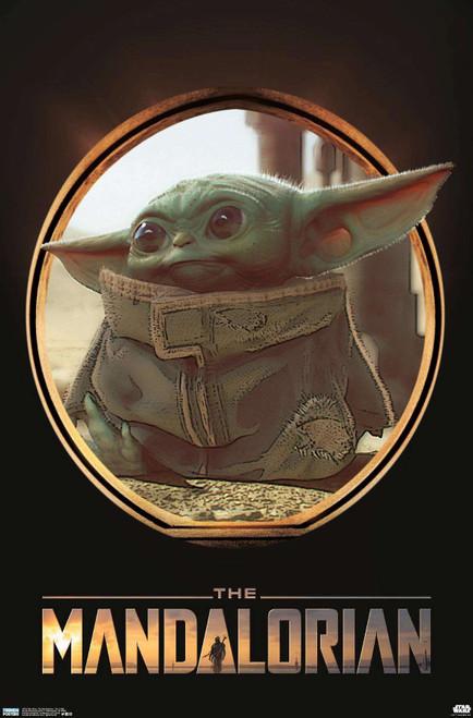 Mandalorian Baby Yoda Vignette Poster.