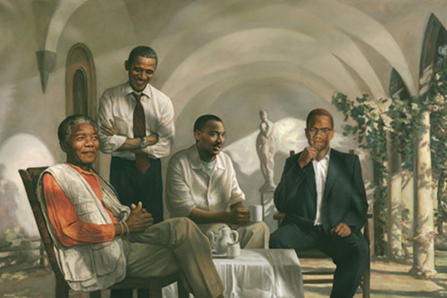 Pioneers of Progress: MLK, Mandela, Malcolm X, and Obama Poster.