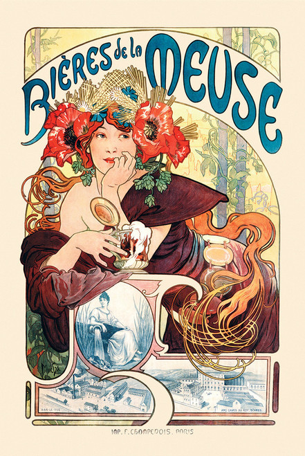 Mucha Bieres de la Meuse Poster.