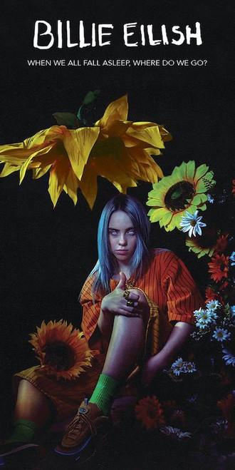 Billie Eilish with flowers.