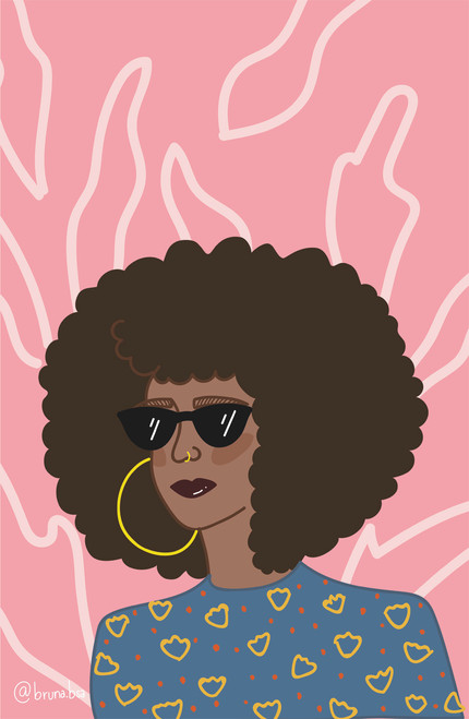 Bruna.bsa Curly Girl Poster Invasion Print.
