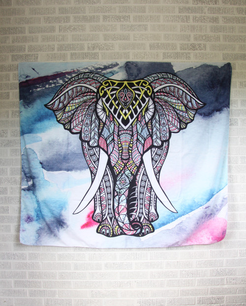 Elephant Watercolor Tapestry.