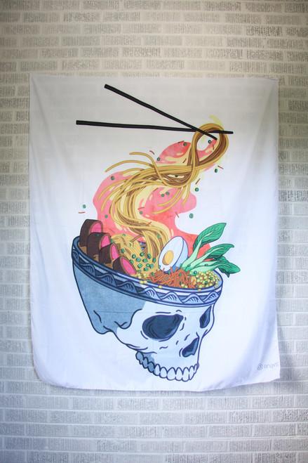 angvs Ramen Skull Tapestry.