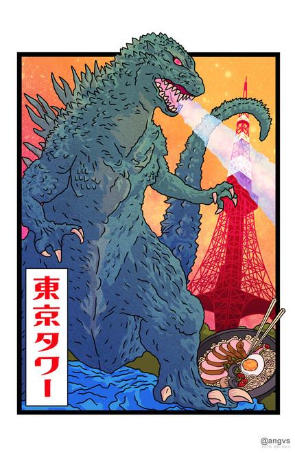 angvs Godzilla Poster Invasion Print.